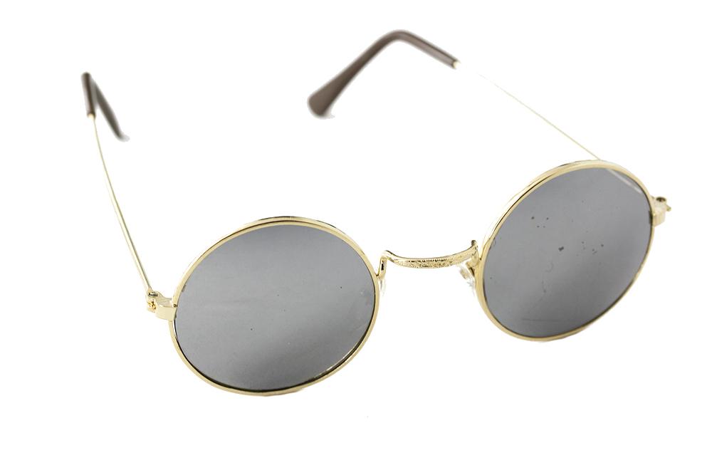 Zonnebril Lichte Glazen : Ronde zonnebril met metaal montuur en spiegelglas