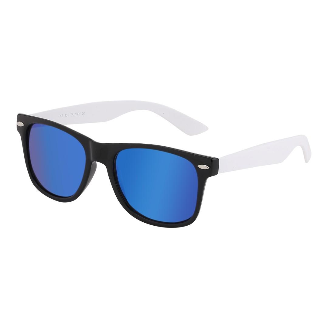 66c9954ca6d6c6 Mat zwarte wayfarer zonnebril met wit montuur en multicolor glas - Design  nr. 1066