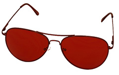 1e70e745cb62d1 Aviator   metalen piloot zonnebril met rood glas - Design nr. 975